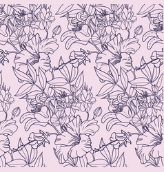 Realistic floral seamless pattern background with vector