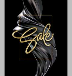 realistic golden inscription sale on a black vector image