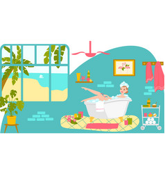 Relax bathroom care skin woman character rest vector