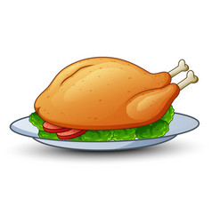 Roasted chicken on platter vector