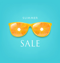 sale banner sunglasses with orange and mint vector image