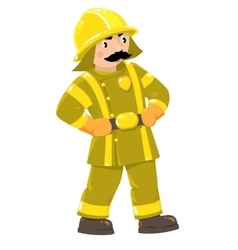Serious firefighter or fireman in uniform vector