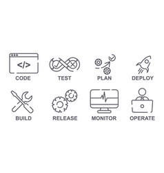 Set linear it operations symbol icons on white vector