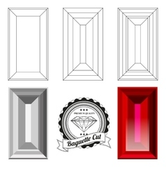 Set of baguette cut jewel views vector image