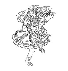 shaman girl dancing with tambourine vector image