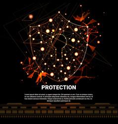shield polygonal over dark background business vector image
