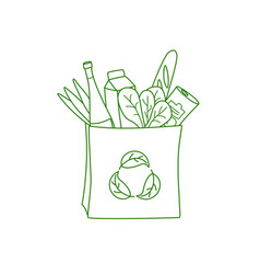 shopping bag with grocery no plastic go green vector image