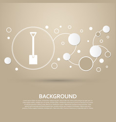 Shovel icon on a brown background with elegant vector