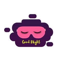 Sleeping mask with eyelashes sleep and nigt vector