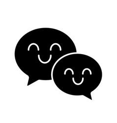 Smiling speech bubbles glyph icon vector