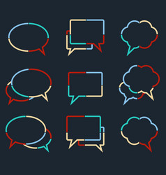 speech bubbles linear icons of colorful dotted vector image