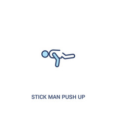 Stick man push up concept 2 colored icon simple vector