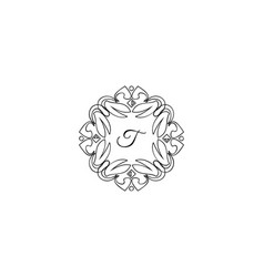 t letter logo monogram design elements line art vector image