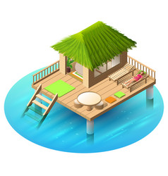 Tropical bungalow on water and woman lies in vector