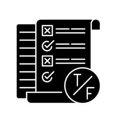 True false test black glyph icon vector