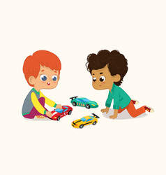 two cute boys playing vector image