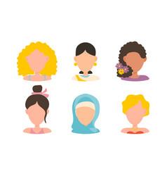 user female avatar profile picture icon set vector image