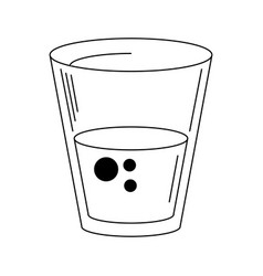 water glass cup symbol in black and white vector image