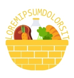Wicker food basket flat vector