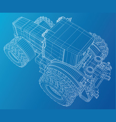 wire-frame tractor tracing of 3d vector image