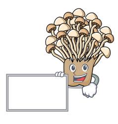 with board enoki mushroom character cartoon vector image
