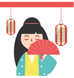 woman with kimono and fun decoration desgn vector image