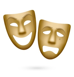 Wooden comedy and tragedy theatrical masks vector image