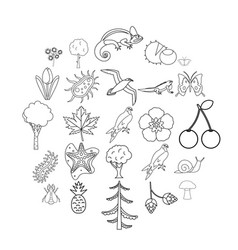 woodland icons set outline style vector image