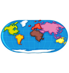 World atlas with seven continents vector