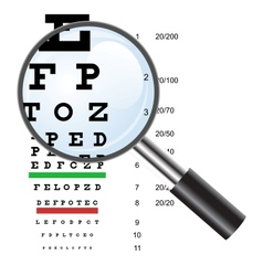 Eye test chart use by doctors and loupe vector image