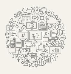 marketing line icons circle vector image