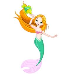 Mermaid feeding the fish vector image vector image