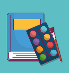 paint palette and brush icon vector image vector image