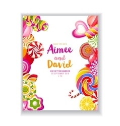 Save the date background with candies vector image vector image