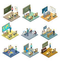 school education isometric 3d set vector image