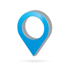3d metal sky light blue map pointer icon marker vector image