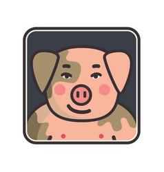 cartoon animal head icon pig face avatar for vector image