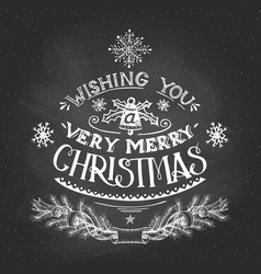 Christmas wishes hand-lettering with chalk vector image vector image