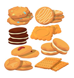 decorated cookies in cartoon style baking vector image vector image
