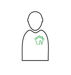 man with eco house vector image vector image