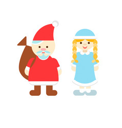 santa claus and snow maiden new years characters vector image vector image