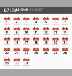 july calendar icons set date and time 2018 year vector image vector image