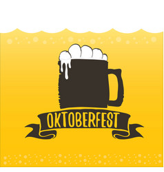 oktoberfest label on orange beer vector image
