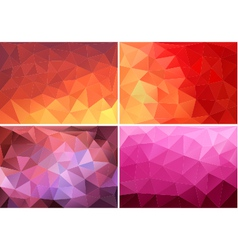red orange pink low poly backgrounds set vector image