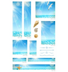 Standard web banners with sunny seascape vector image vector image