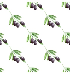 Watercolor branches of olives seamless pattern vector image
