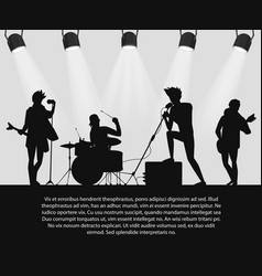 rock band silhouette on stage with text place vector image