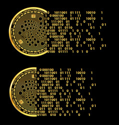 set of crypto currency iota golden symbols vector image