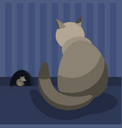 a gray domestic cat watches the mouse at her hole vector image