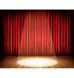 A theater stage with red curtain and spotlight vector